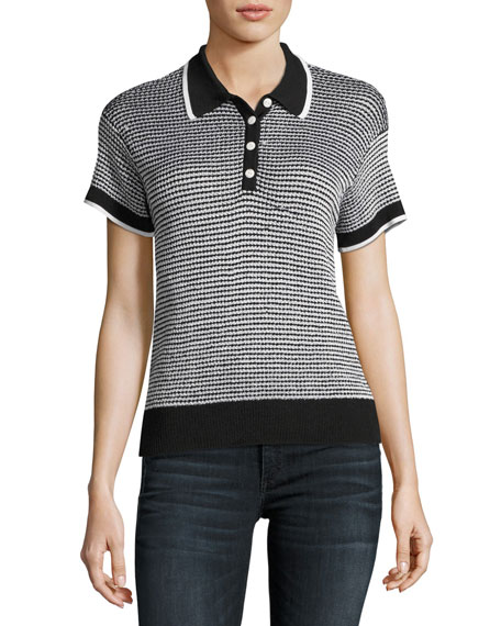 Rag & Bone Finn Button-Up Polo Sweater, Black/White