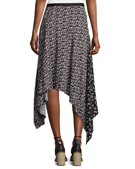 Liv Floral Handkerchief-Hem Midi Skirt, Black