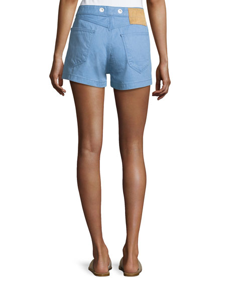 Rag & Bone RBW18 Slim-Fit High-Rise Shorts, Powder Blue
