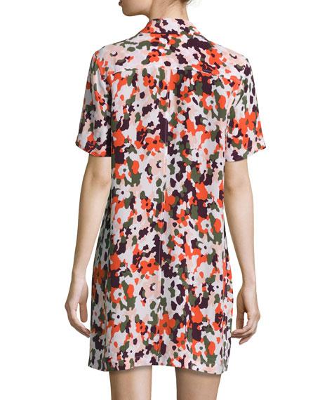 Knox Camo Short-Sleeve Lace-Up Silk Dress, Multicolor
