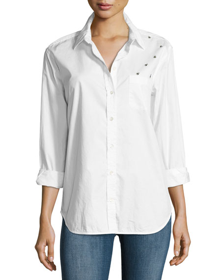 Equipment Kenton Insect Cotton Shirt, White