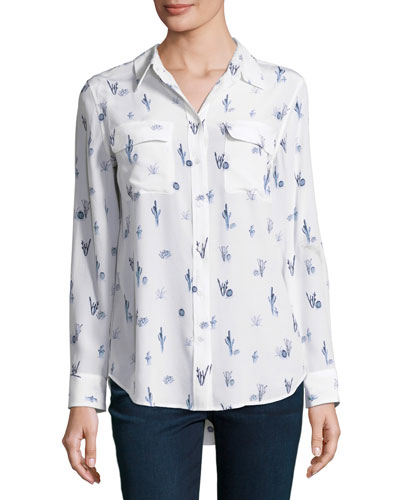 86433cb8be2 Best reviews Equipment Cactus-Print Slim Signature Long-Sleeve Shirt ...