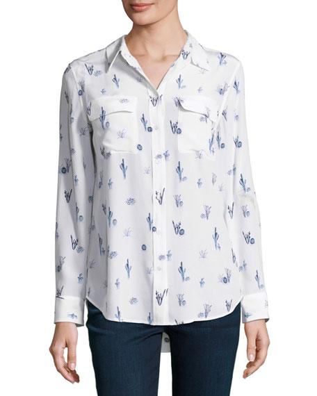 Equipment Cactus-Print Slim Signature Long-Sleeve Shirt, White