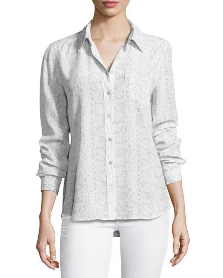 Equipment Brett Snakeskin-Print Silk Shirt, White