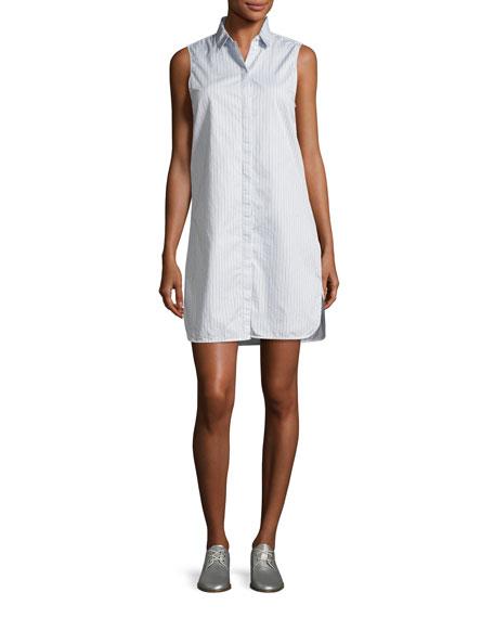 Equipment Janna Striped Poplin Sleeveless Shirtdress, Blue/White