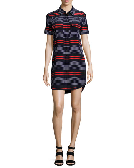 Equipment Short-Sleeve Slim Signature Striped Shirtdress, Blue/Red