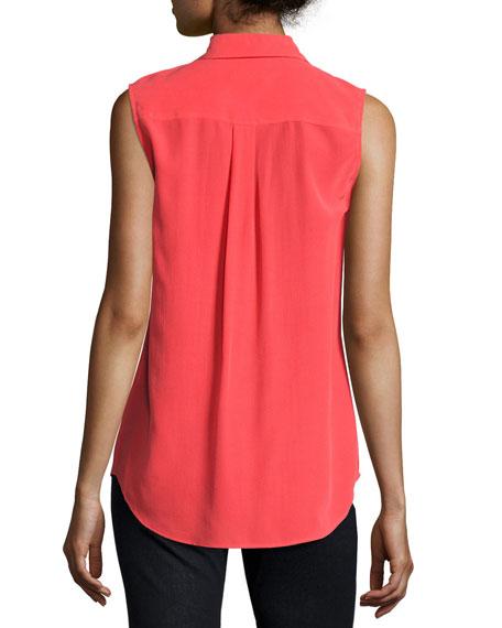 Sleeveless Slim Signature Shirt, Bright Red