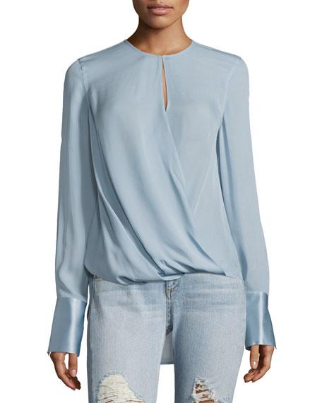 Max Long-Sleeve Linen Blouse, Blue
