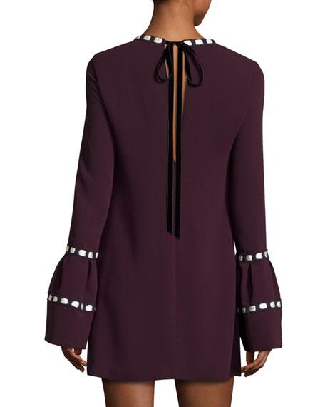 Rustam Ribbon-Trimmed Bell-Sleeve Shift Dress, Plum