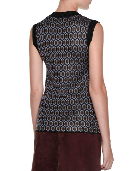Sleeveless Atomic-Knit Top, Quartzmoon