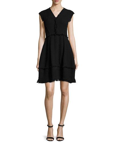Sleeveless Tweed A-Line Dress, Black