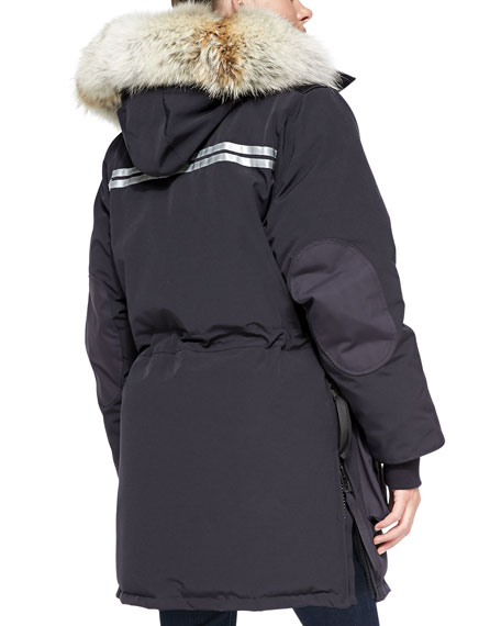 Snow Mantra Fur-Hood Coat, Navy
