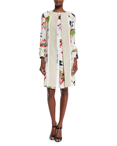 Blossom Long Straight Coat, White