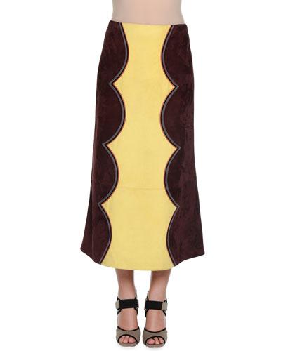 Suede Colorblock Cowboy Skirt, Eggplant