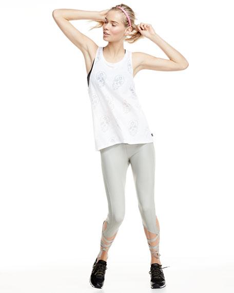 Ballerina Capri Athletic Leggings, Stone Fishnet