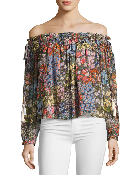 Needle & Thread Flowerbed Off-the-Shoulder Top, Multicolor