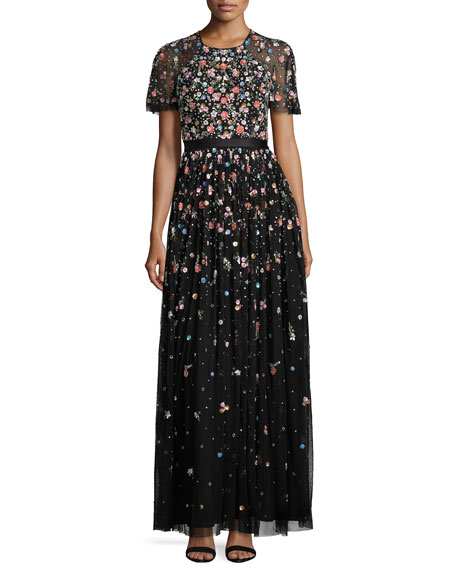 Needle & Thread Starburst Floral-Embellished Short-Sleeve Gown,