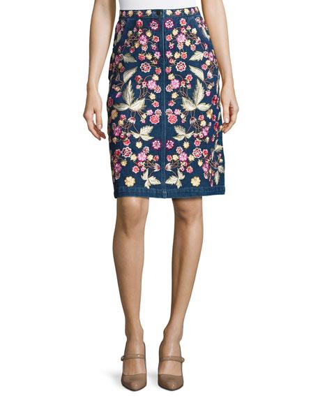 Wildflower Embroidered Denim Skirt, Blue