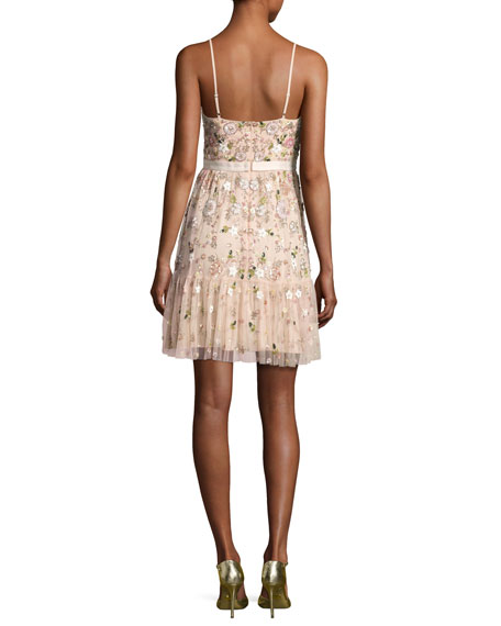Blossom Embellished Tulle Sleeveless Dress, Blossom Pink