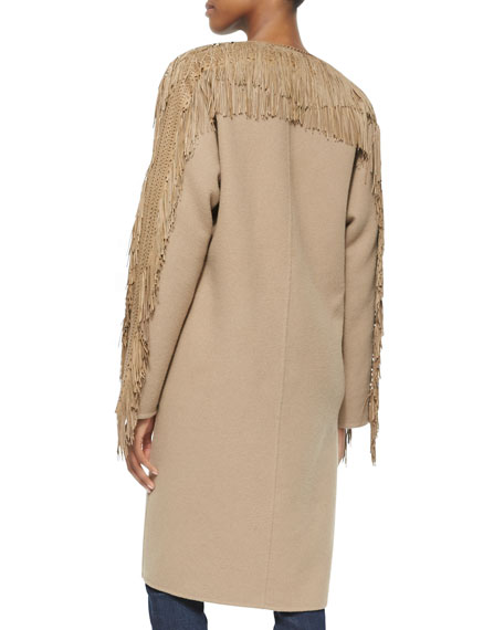 Cashmere-Blend Fringe-Trimmed Collarless Coat