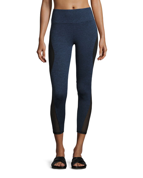 Lanston Brodi Curve Paneled Performance Leggings, Navy