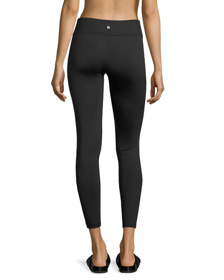 Odin Glossy-Paneled Combo Performance Leggings, Black