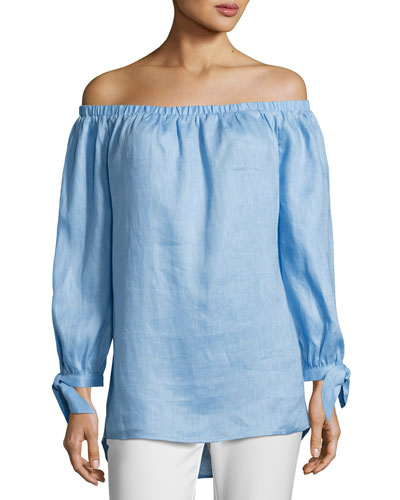 Off-the-Shoulder Linen Top, Blue