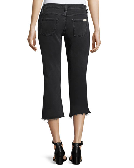 Mike Raw-Hem Kick-Flare Jeans, Blackstone