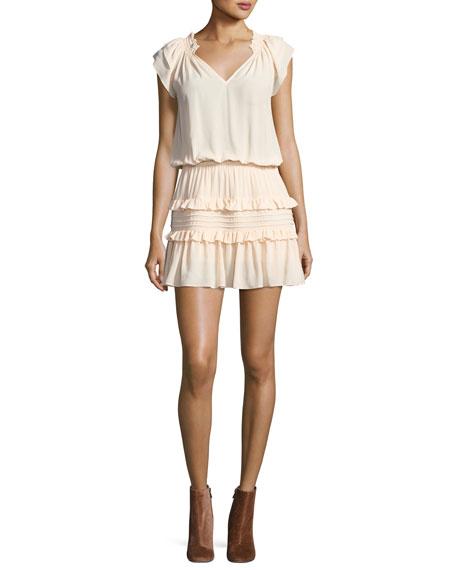 Lini Off-the-Shoulder Tiered Ruffle Mini Dress, Nude