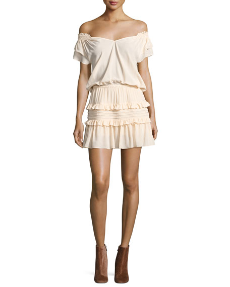 ba&sh Lini Off-the-Shoulder Tiered Ruffle Mini Dress, Nude