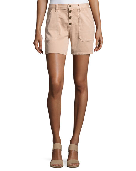 ba&sh Cmira High-Rise Slim-Fit Shorts, Makeup