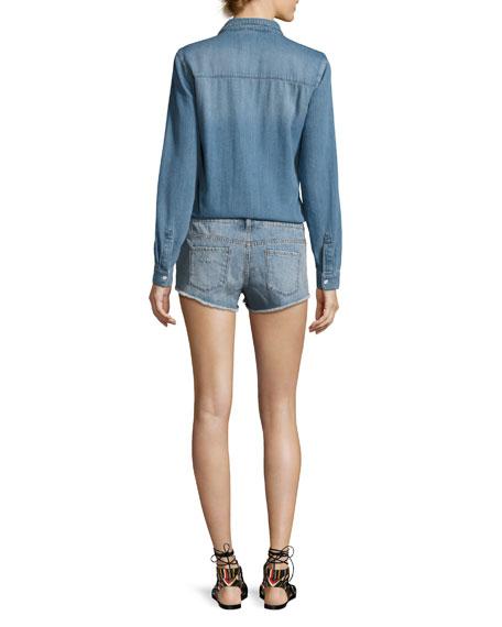 Thomas Denim Long-Sleeve Playsuit, Light Blue