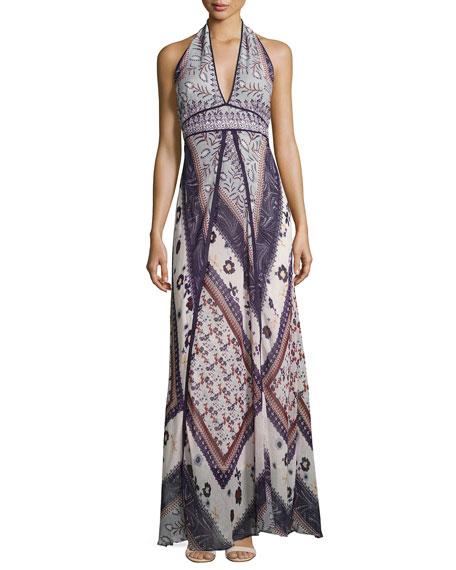 Romane Halter Maxi Dress, Multi Pattern
