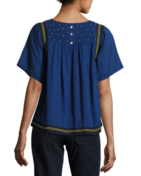 Jimi Smocked Short-Sleeve Top, Bleu
