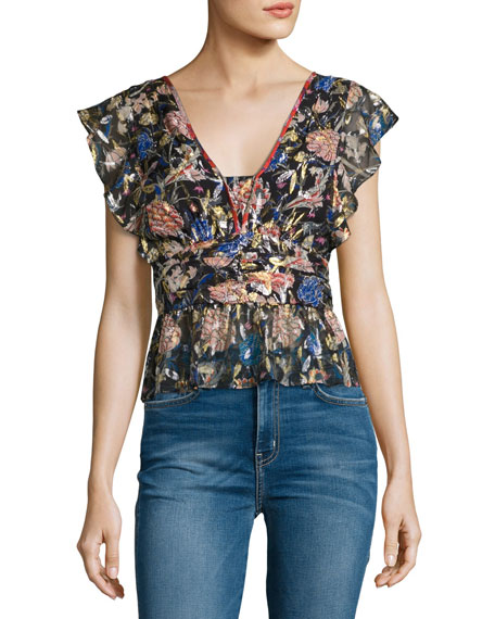 Jami Metallic Floral Silk Tie-Back Top, Noir