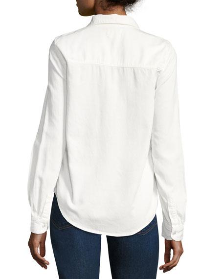 Bridget Button-Down Cotton Shirt, White