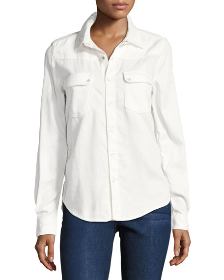 ba&sh Bridget Button-Down Cotton Shirt, White