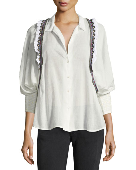 ba&sh Jermaine Embroidered-Trim Shirt, White/Black Multicolor