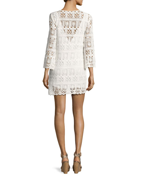 Elza Lace 3/4-Sleeve Mini Dress, Ecru