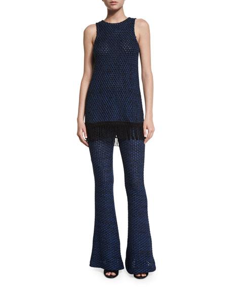 Open-Knit Flare Leg Pants, Black/Cobalt