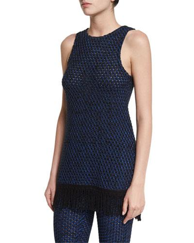 Sleeveless Open-Knit Fringe Tunic, Black/Cobalt