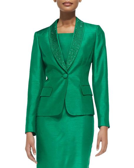 Albert Nipon Bead-Trim Sheath Dress with Jacket