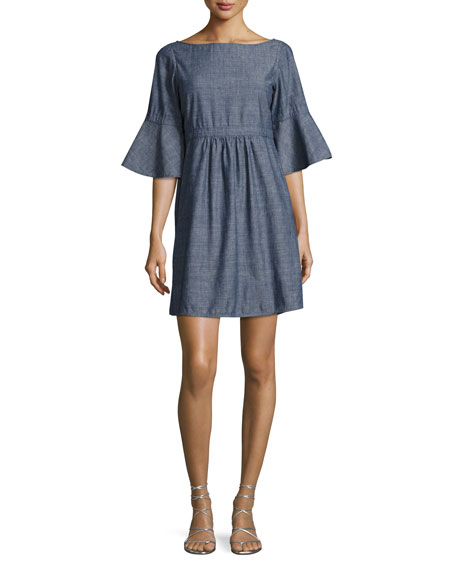 Michelle Chambray Flare-Sleeve Dress