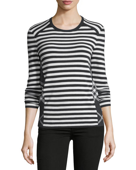 Burberry Long-Sleeve Mixed-Stripe Top, Black/White