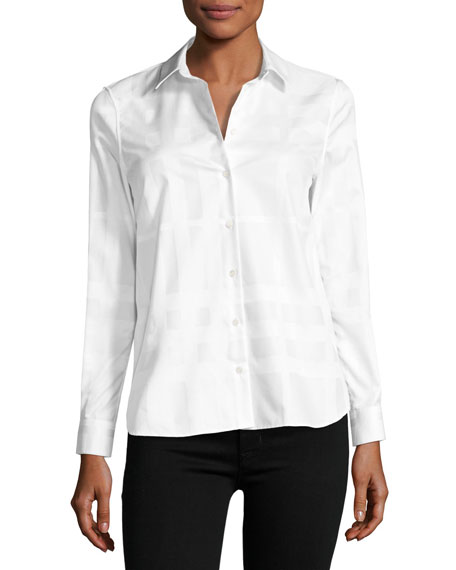 Burberry Aster Jacquard Check Long-Sleeve Shirt, White