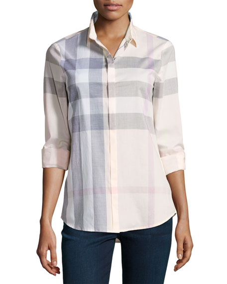 Burberry Long-Sleeve Check Shirt, Pink