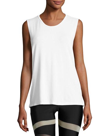 Twist Open-Back Muscle Tank Top, White