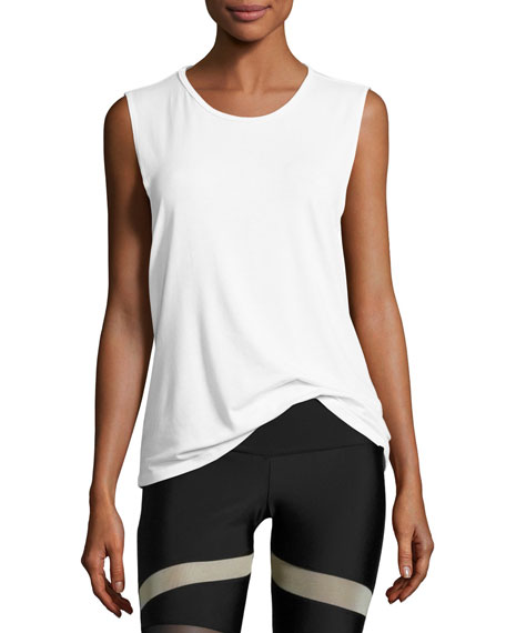 Onzie Twist Open-Back Muscle Tank Top, White