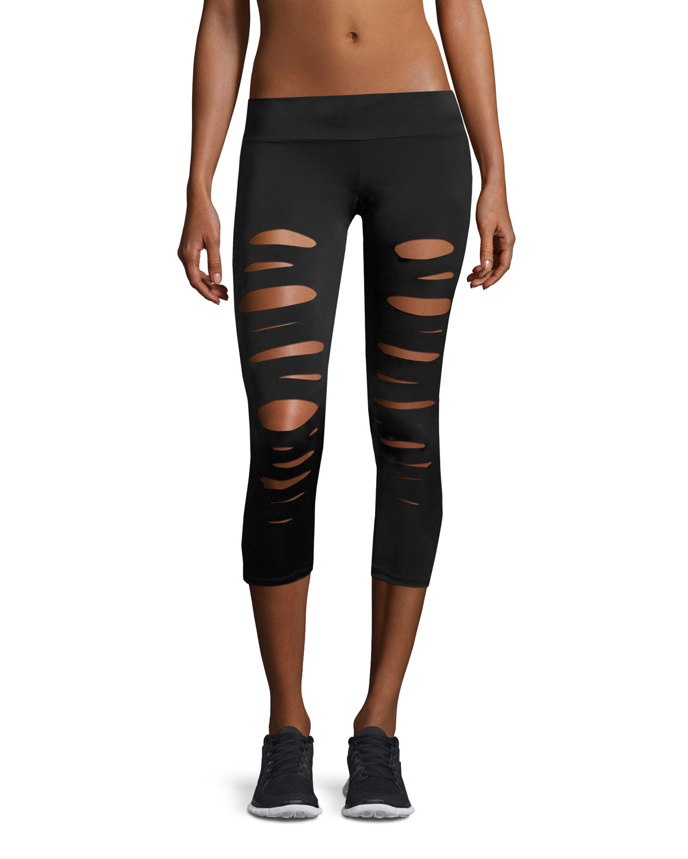 27699483482073 Onzie Shred Capri Performance Leggings, Black | Neiman Marcus