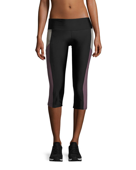 Onzie Pocket Capri Performance Leggings, Black/Purple